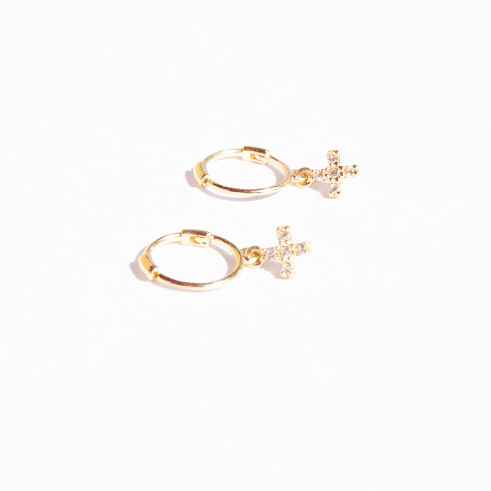9ct Gold Cross Charm Hoops