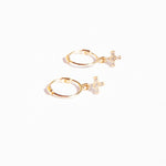 9ct gold tiny cz cross charm hoops - seol-gold