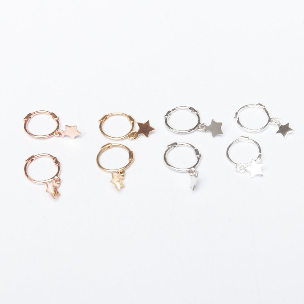 9ct Gold Star Charm Hoops - seol-gold