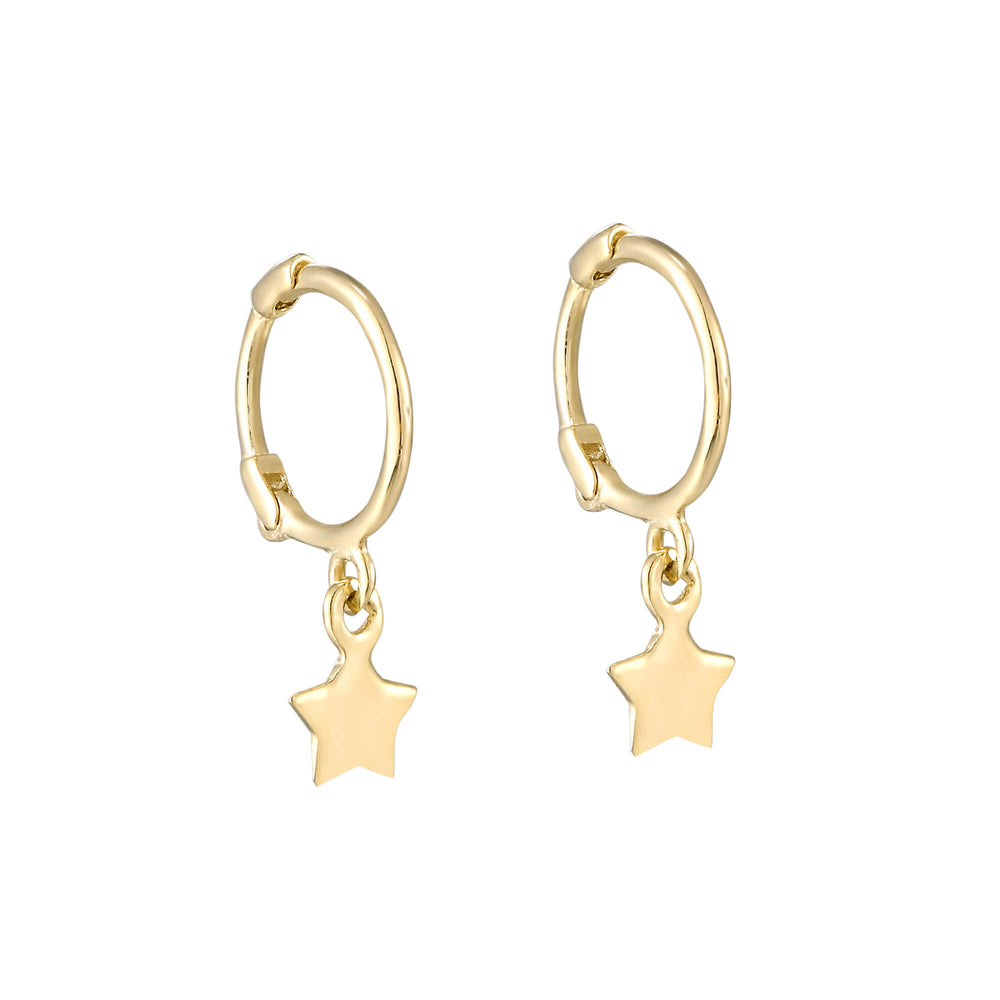 tiny star nose hoops - seolgold