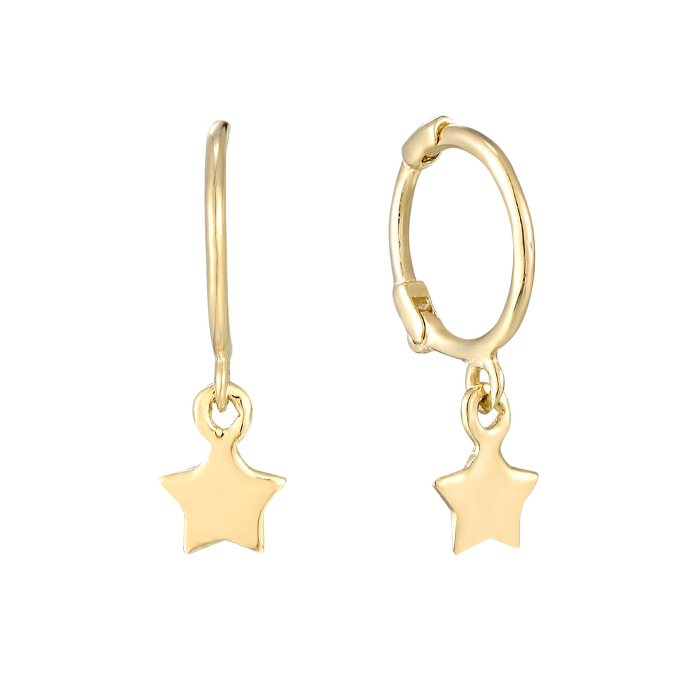 Tiny Star Charm Hoops