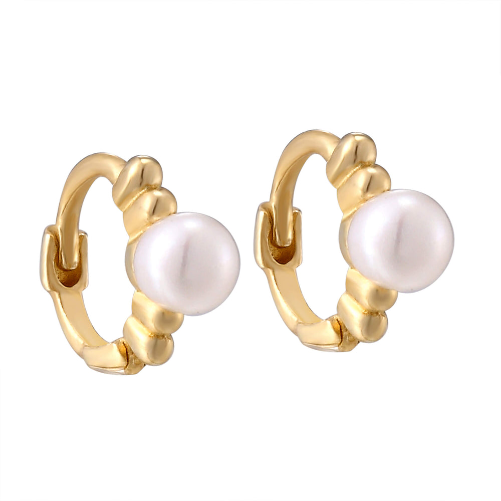 9ct Gold Tiny Pearl Huggie Hoops