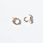 9ct Gold Tiny Pearl Dotted Huggie Hoops - seol-gold