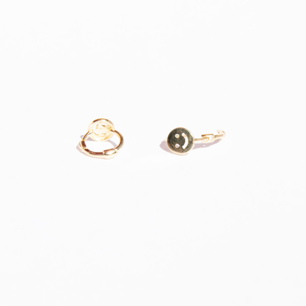 9ct gold smiley face hoops - seol-gold