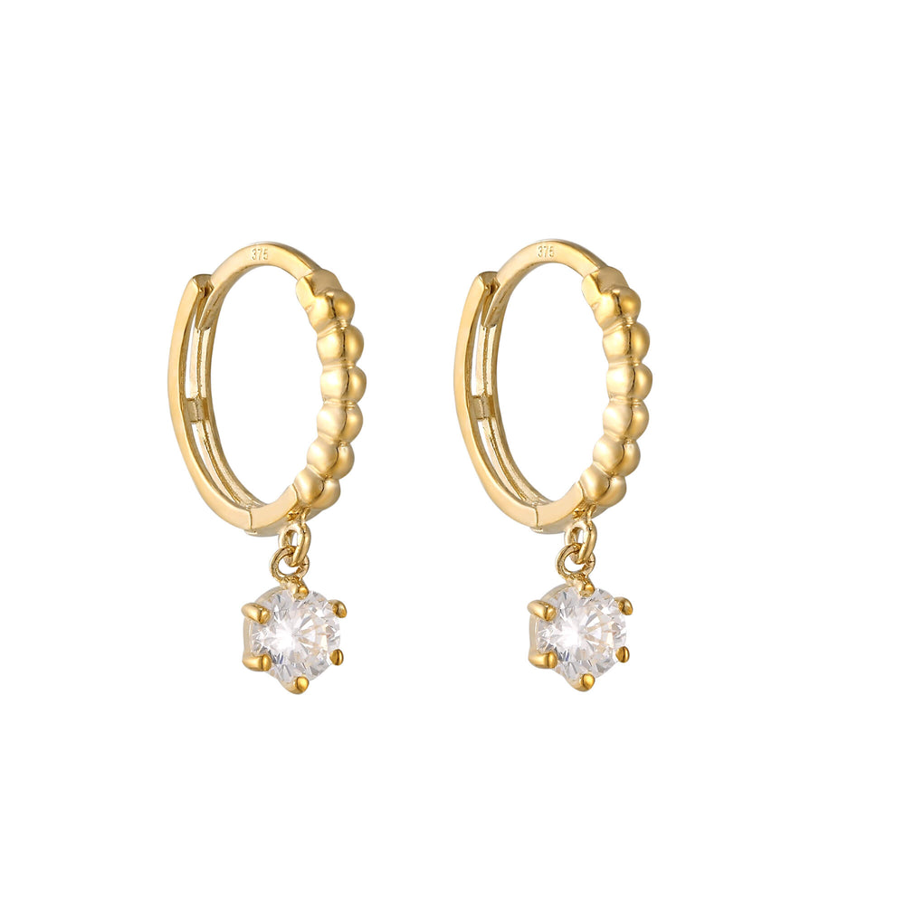 Gold cubic zirconia hoops - seol-gold
