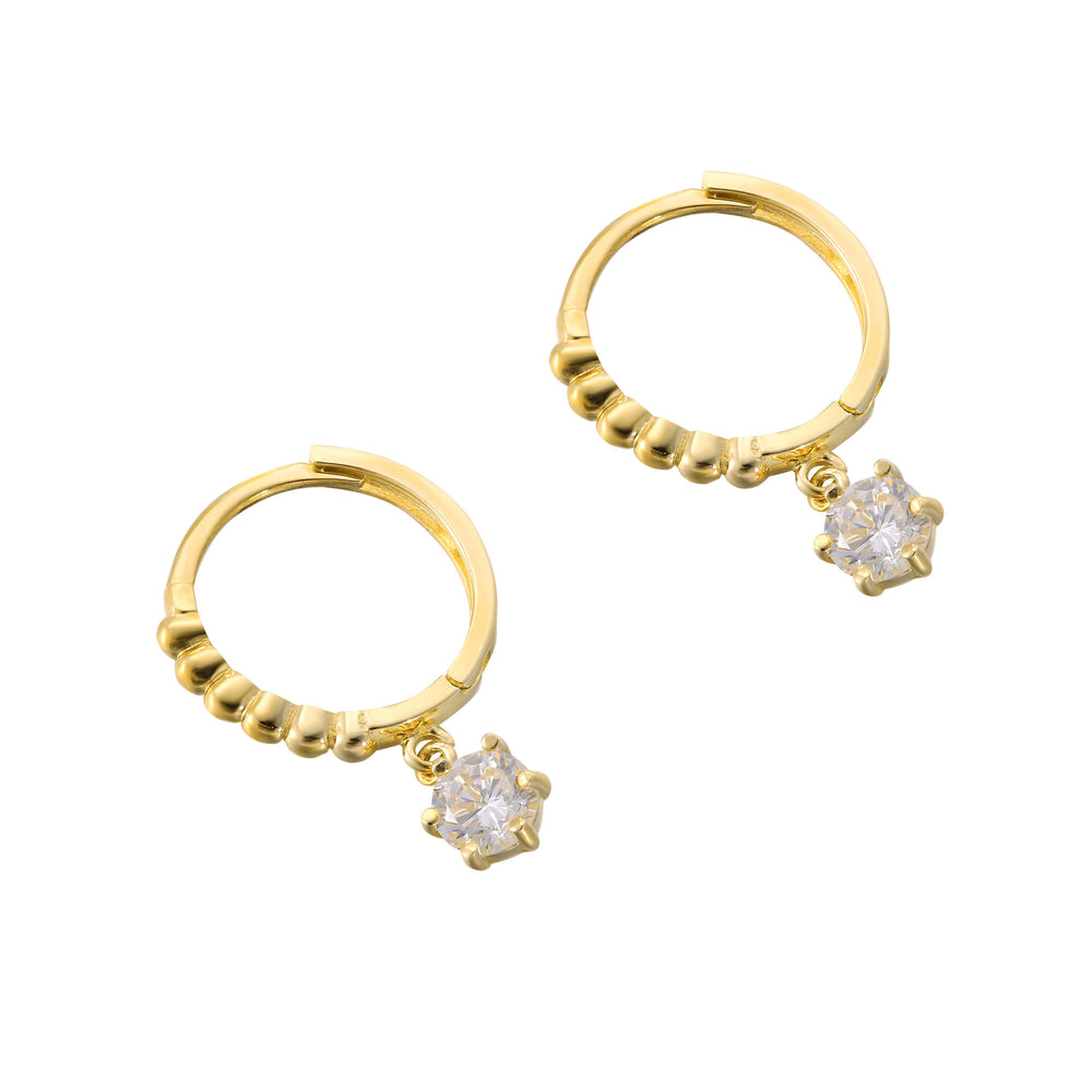 9ct Gold CZ Charm Bobble Hoops - seol-gold
