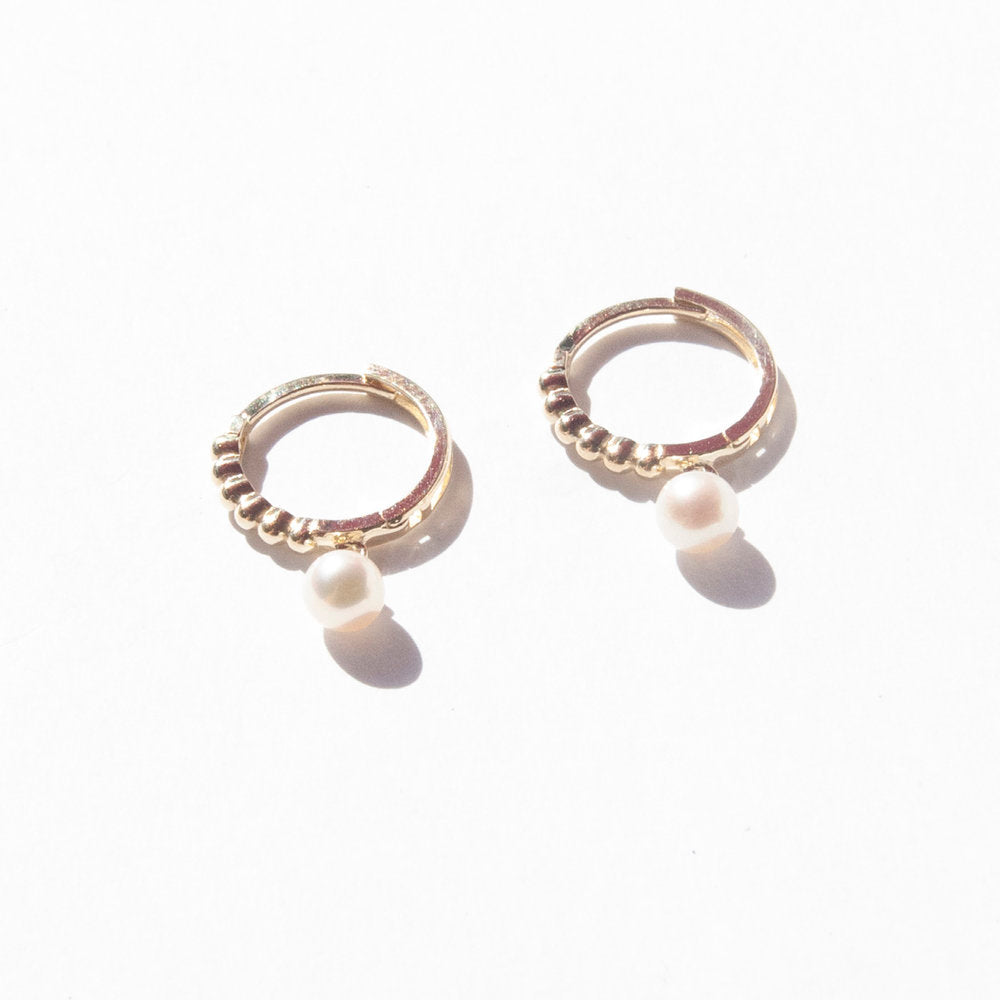 9ct Gold Pearl Charm Bobble Hoops - seol-gold
