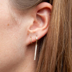 9ct Gold CZ Parallel Bar Charm Hoop Earrings - seol-gold