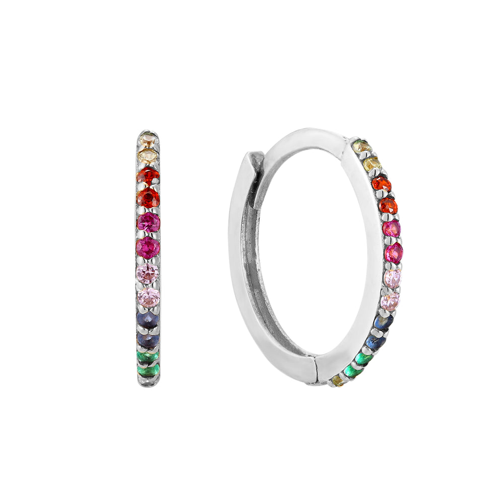 Silver Rainbow CZ Hoop Earrings - seol-gold