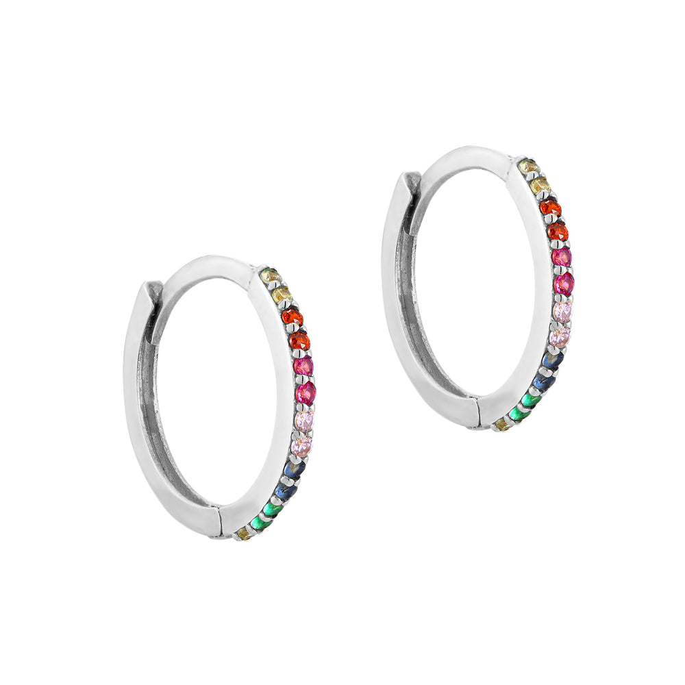 Rainbow CZ Hoop Earrings - seol-gold