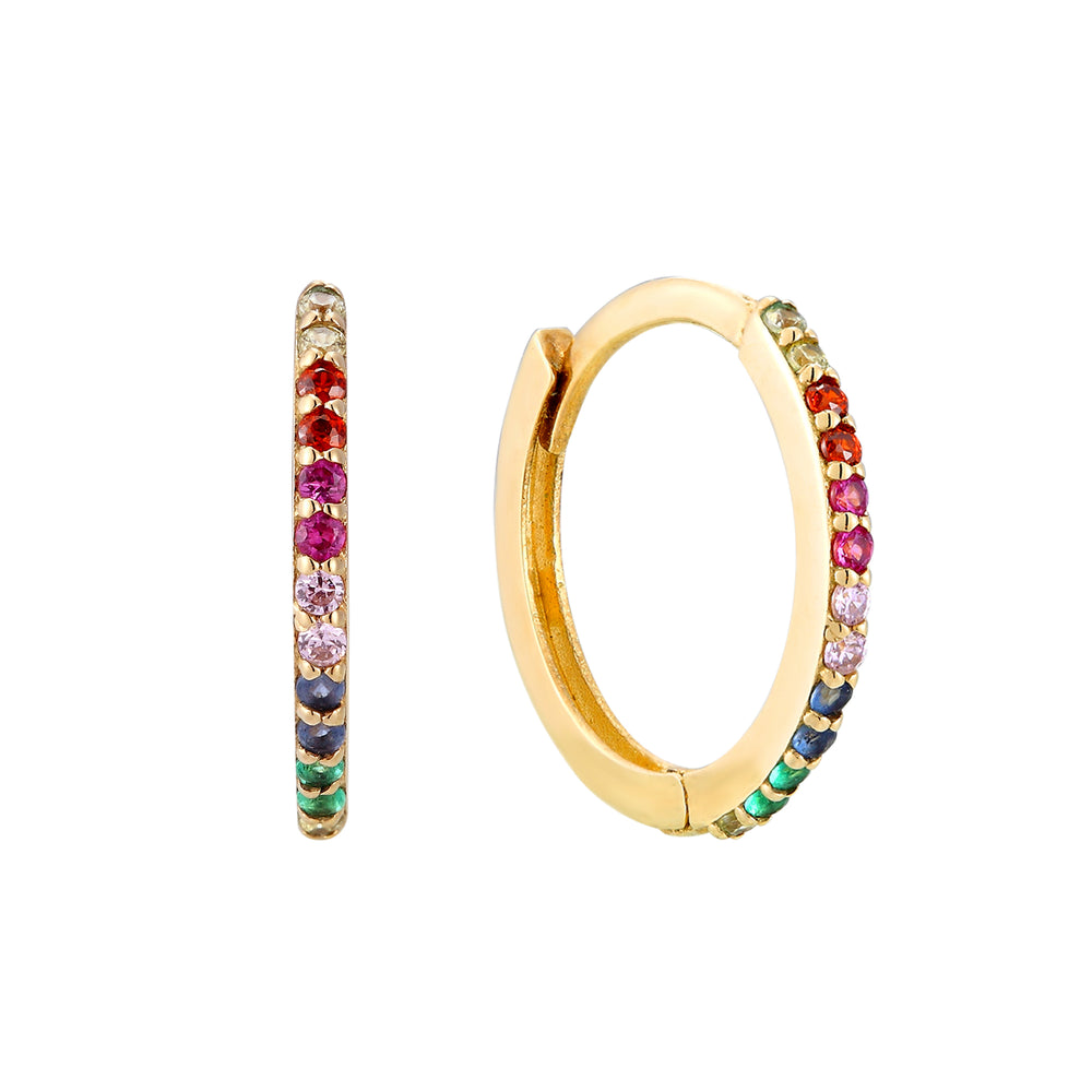 Rainbow CZ Hoop Earrings