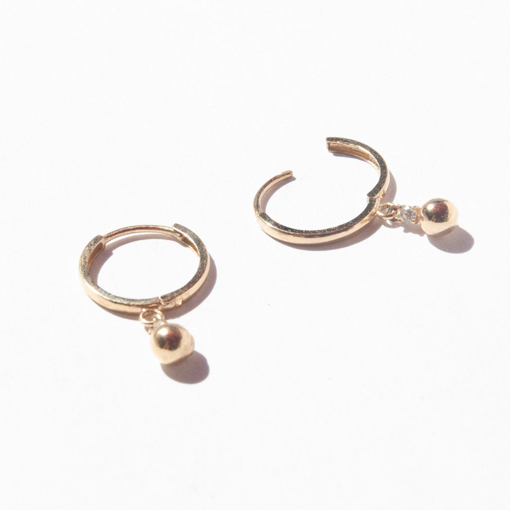 9ct Gold Bead Charm CZ Hoop Earrings - seol-gold