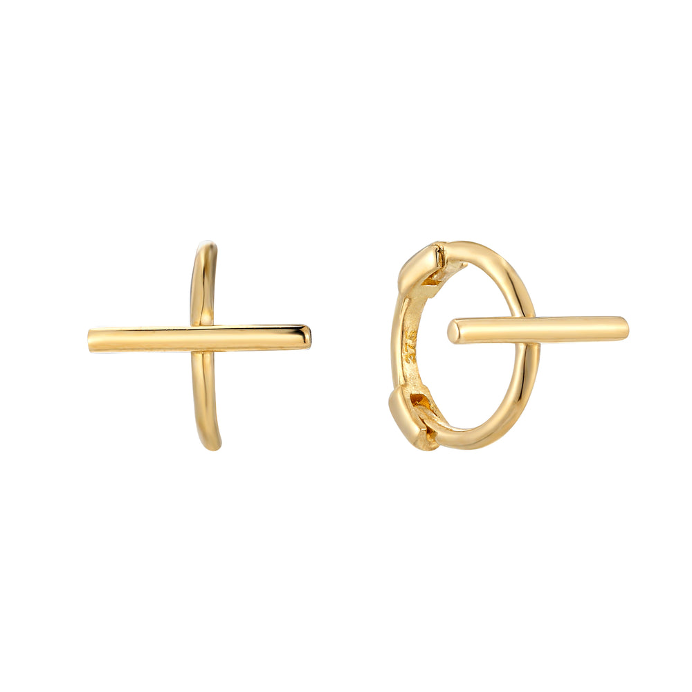 9ct Gold Tiny Bar Huggie Earrings