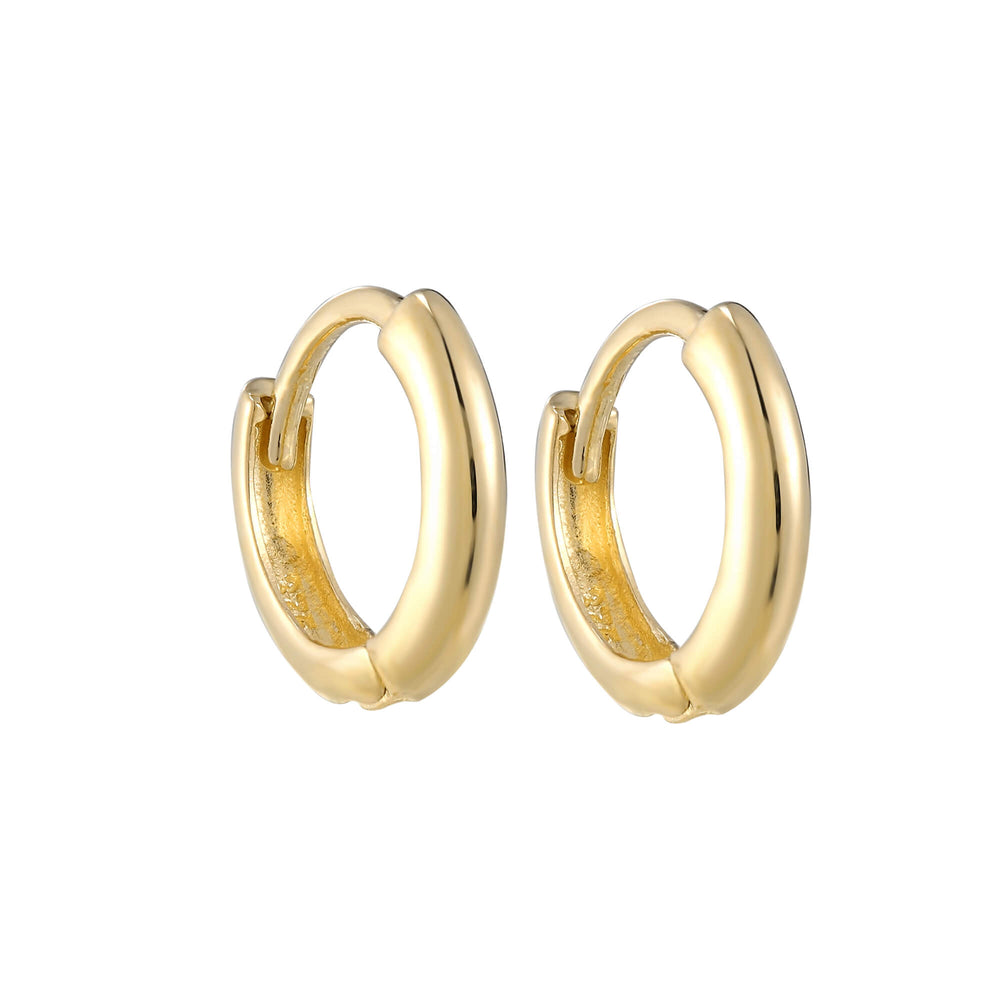 9ct Gold Tiny Plain Huggie Earrings - seol-gold