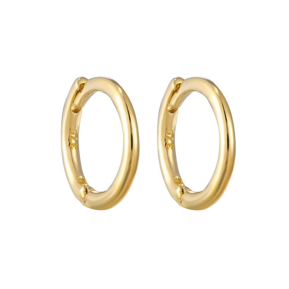 9ct Gold Tiny Plain Huggie Earrings
