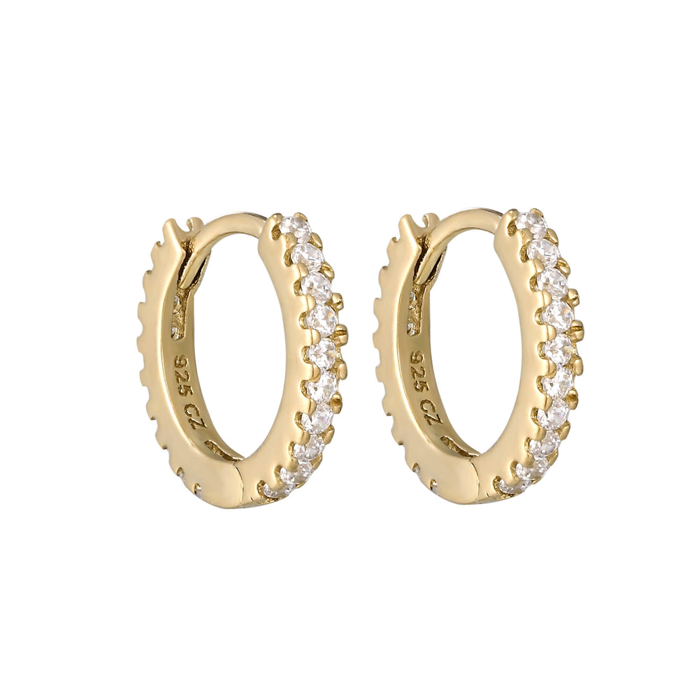 Gold - CZ Studded Huggie Hoops - seol-gold
