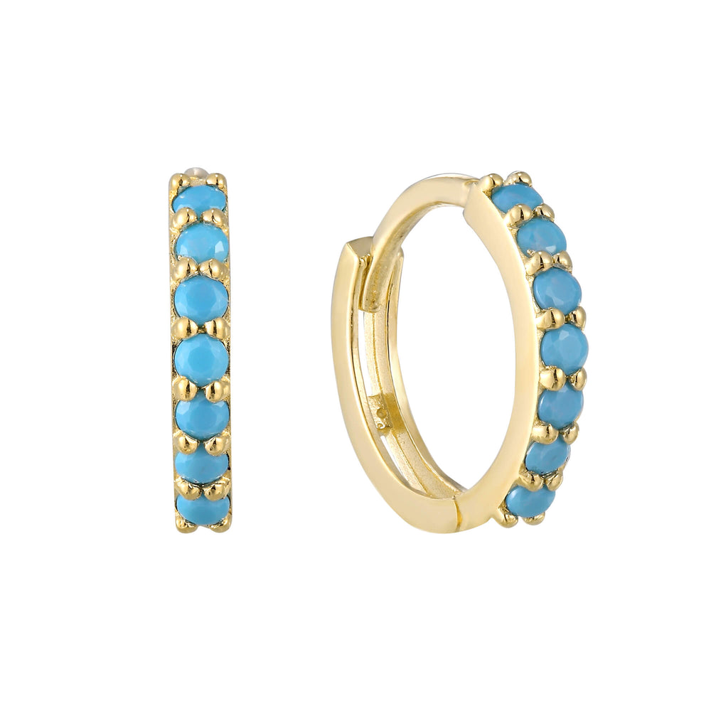 9ct Gold Turquoise Hoop Earrings - seol-gold