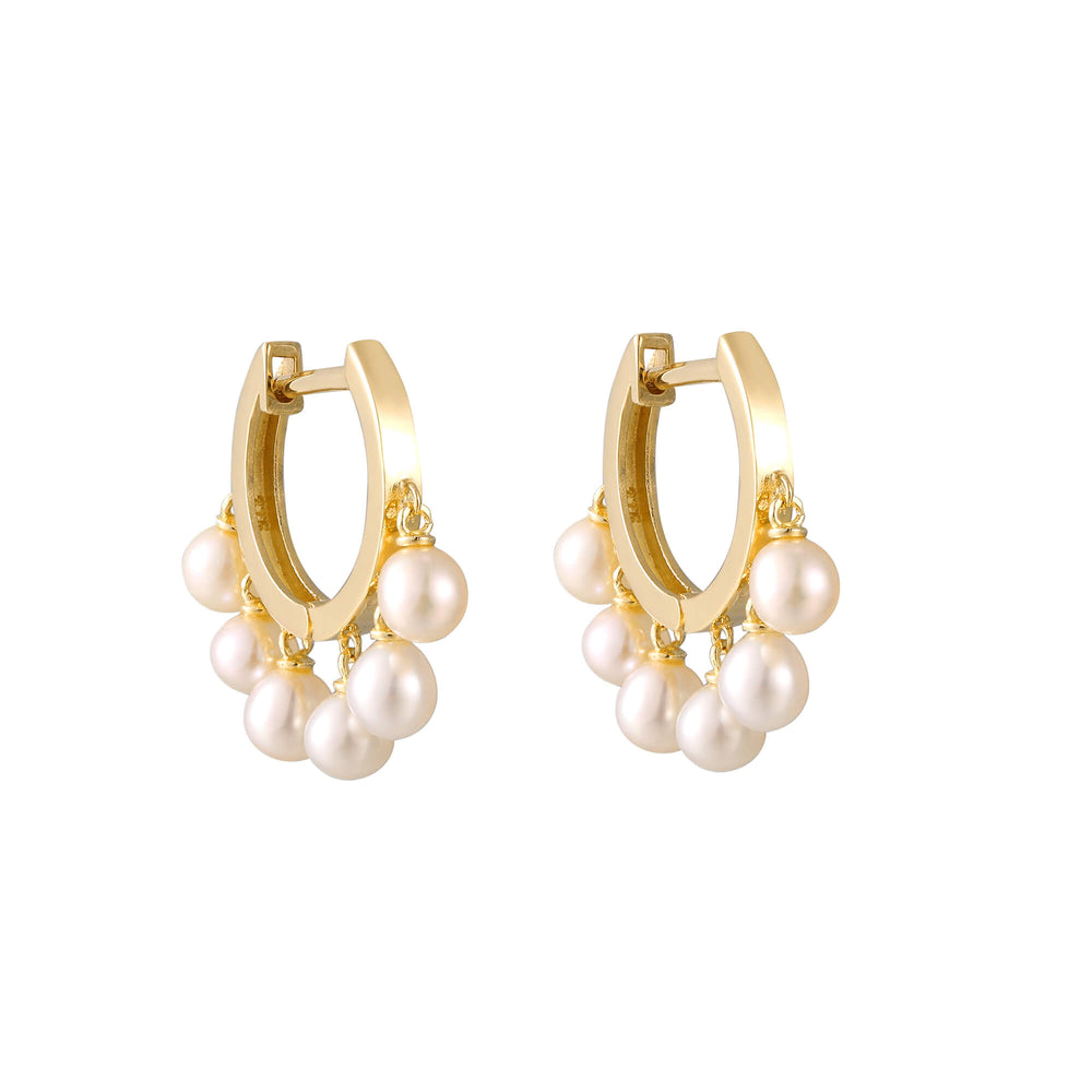 Pearl - Gold Hoop Earrings - seol-gold