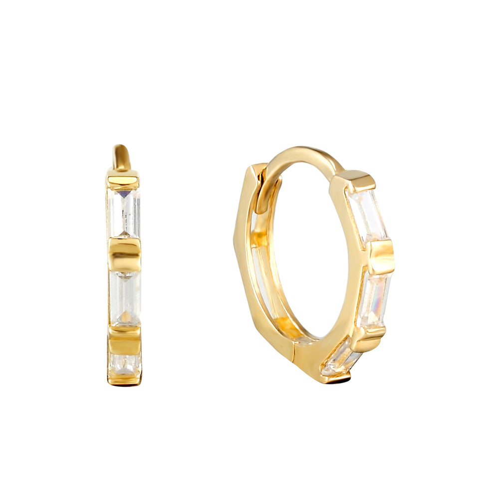 9ct Gold Baguette CZ Hoops