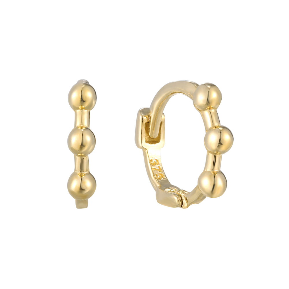 9ct Gold Tiny Dotted Huggie Hoops
