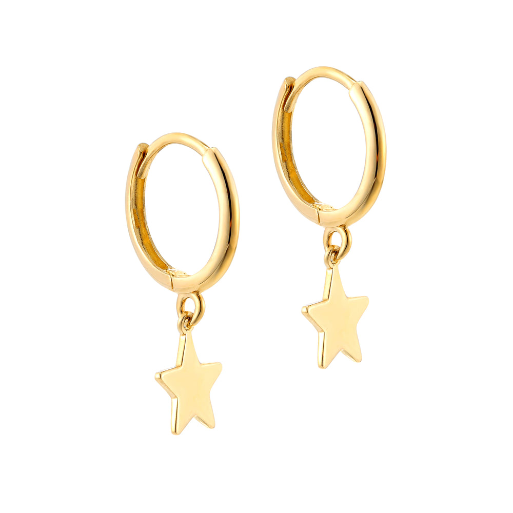 9ct Gold Star Hoops - seol-gold
