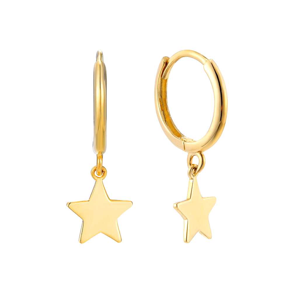 9ct gold charm hoops - seol-gold