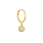 9ct Gold CZ Sphere Charm Hoops
