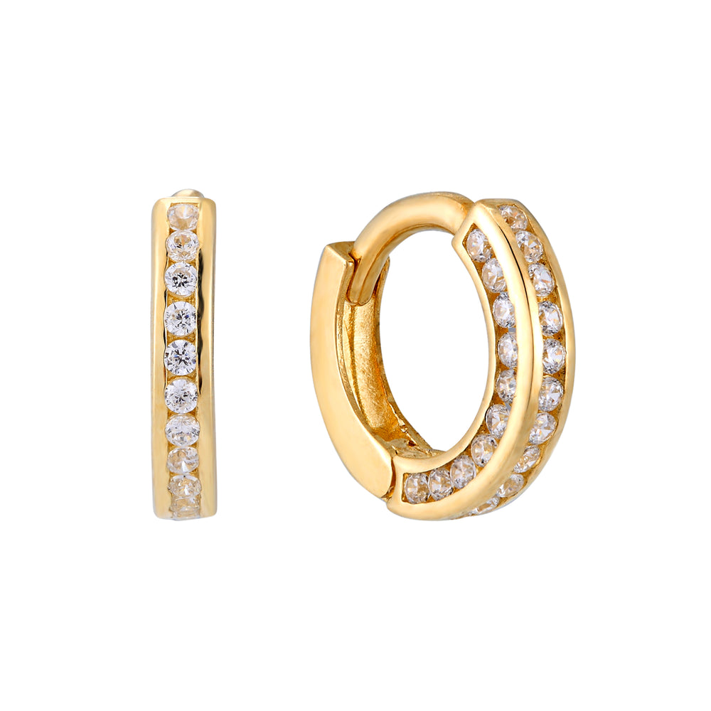 9ct Gold CZ Pave Cage Hoops