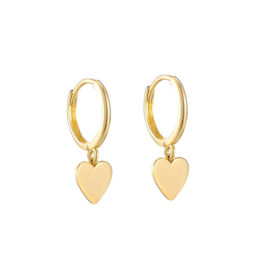 9ct Gold Heart Charm Hoops