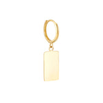 9ct Gold Rectangle Charm Hoops