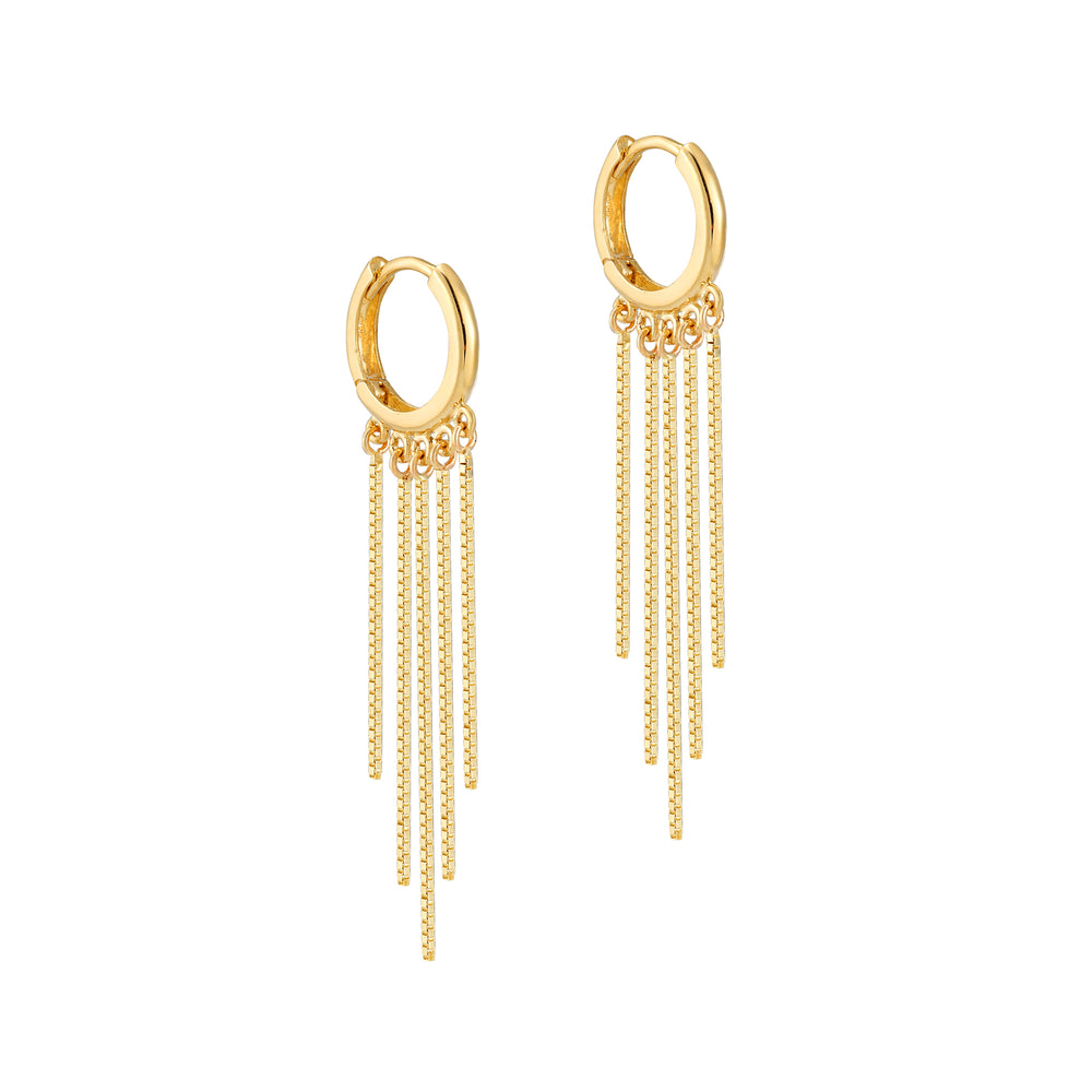 9ct Gold Chandelier Chain Huggie Earrings - seol-gold