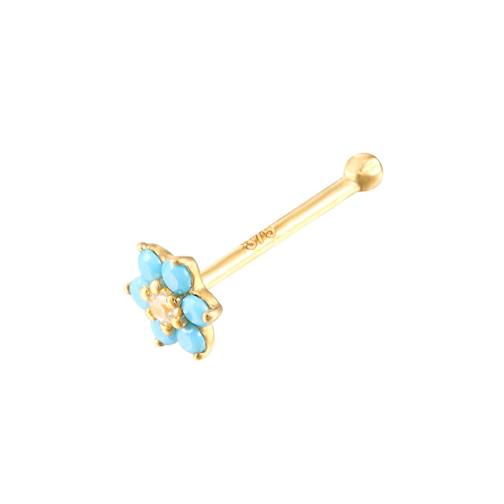 9ct Gold Turquoise Flower Nose Stud