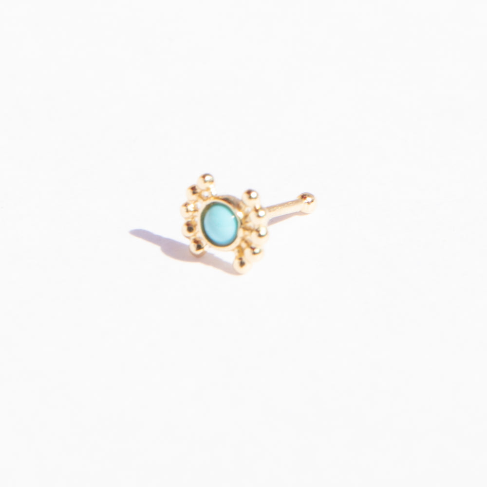 9ct Gold Turquoise Nose Stud