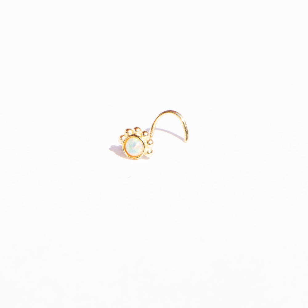 9ct Gold Opal Nose Stud