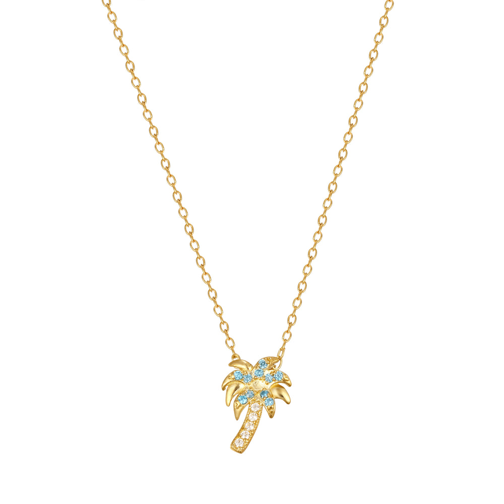 9ct gold palm tree - necklace - seolgold