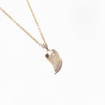 9ct Gold Tusk Horn CZ Pave Necklace - seol-gold