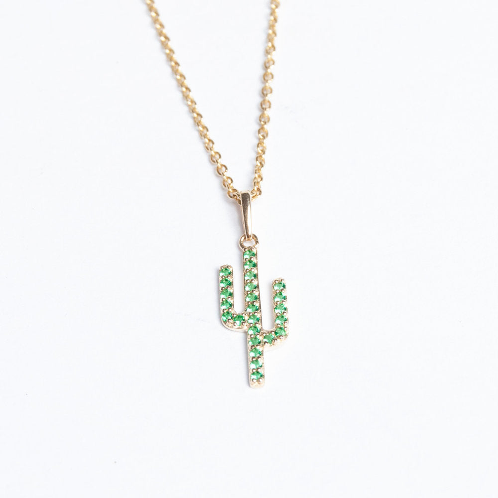 9ct Gold Emerald Studded Cactus Pendant - seol-gold