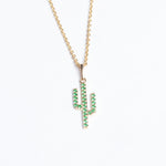 9ct Gold Emerald Cactus Pendant - seol-gold