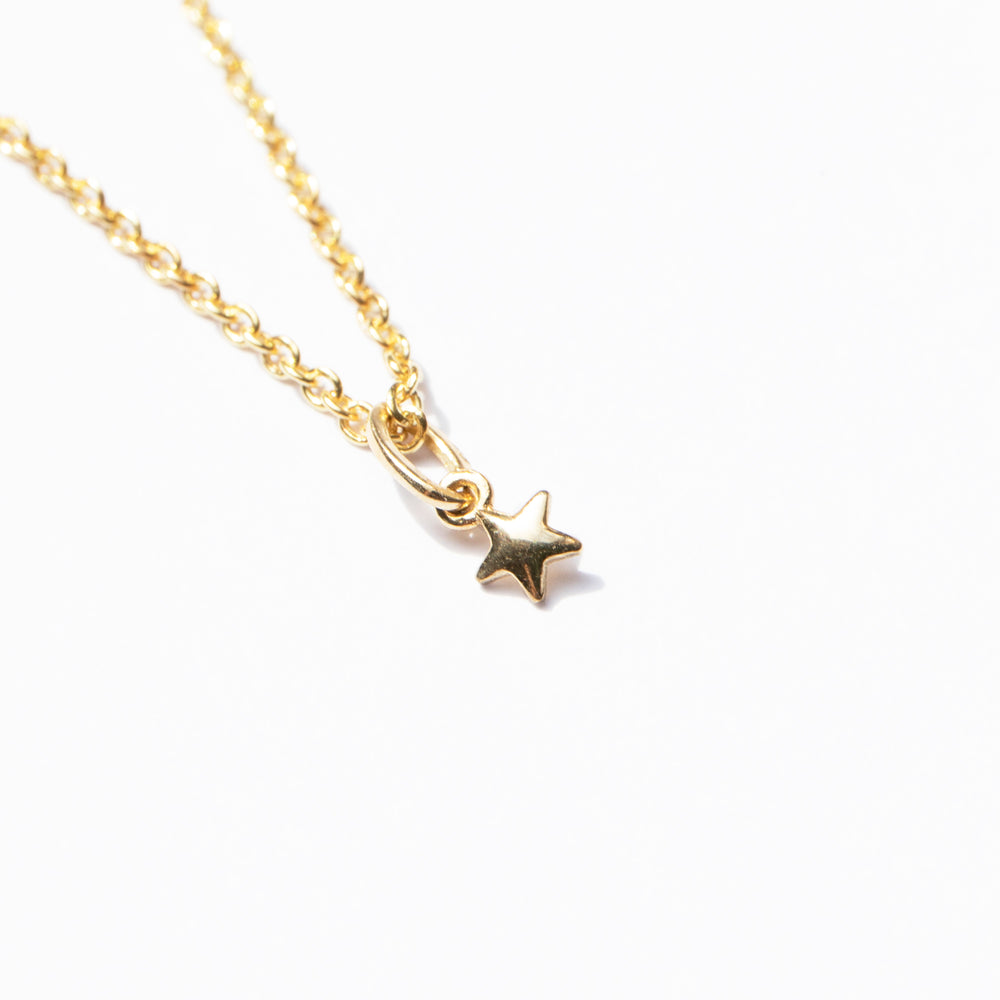 9ct gold tiny star pendant necklace - seol-gold