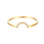 9ct Gold CZ Studded Arch Ring