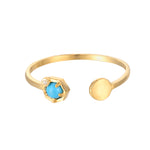 9ct Gold Turquoise & CZ Ring