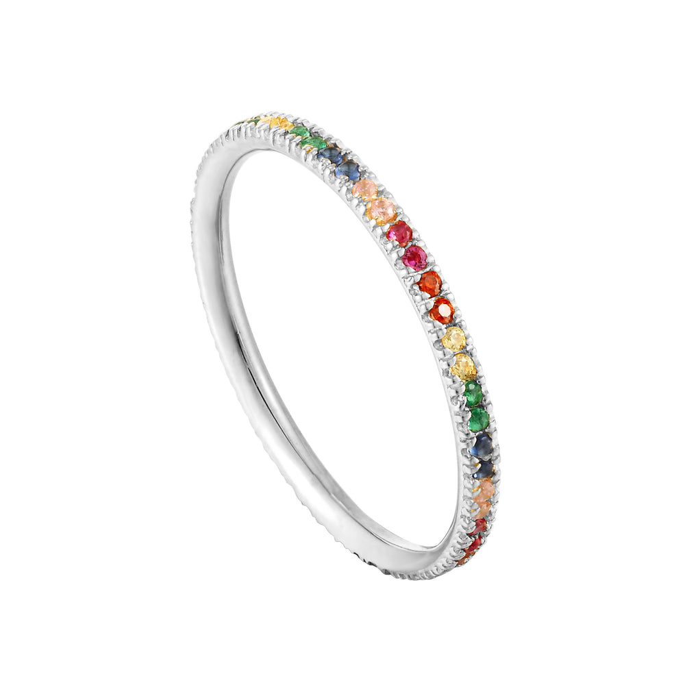 silver rainbow eternity ring - seolgold