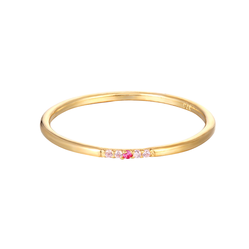 9ct Gold Ruby CZ Ring