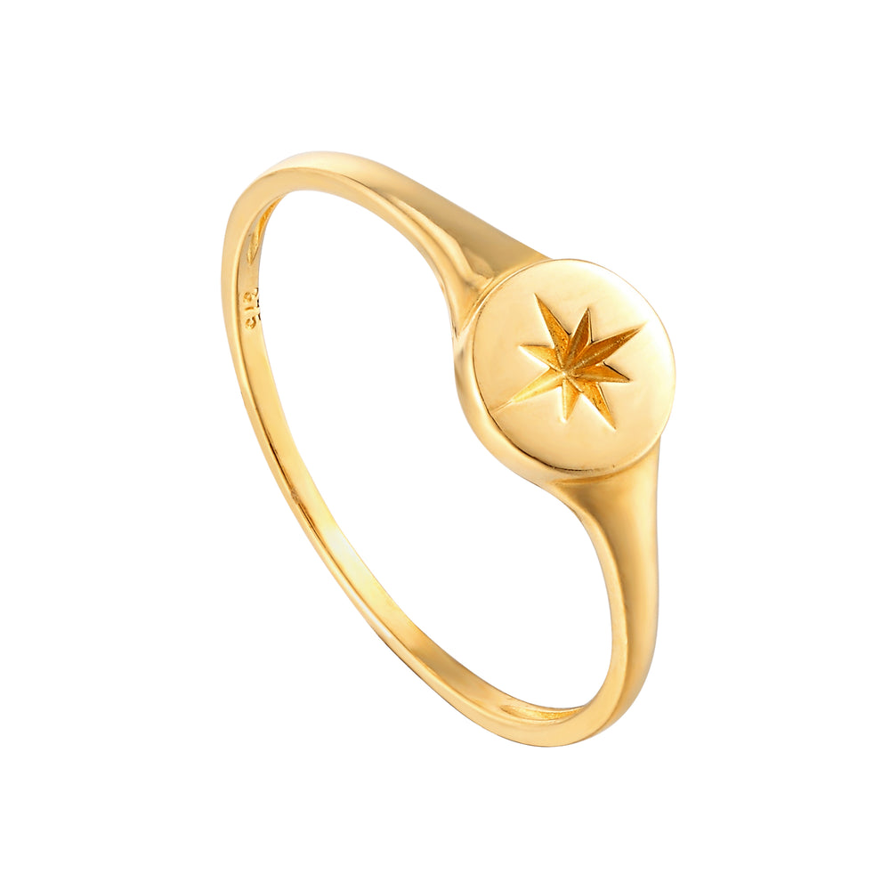 9ct Gold Compass Star Signet Ring