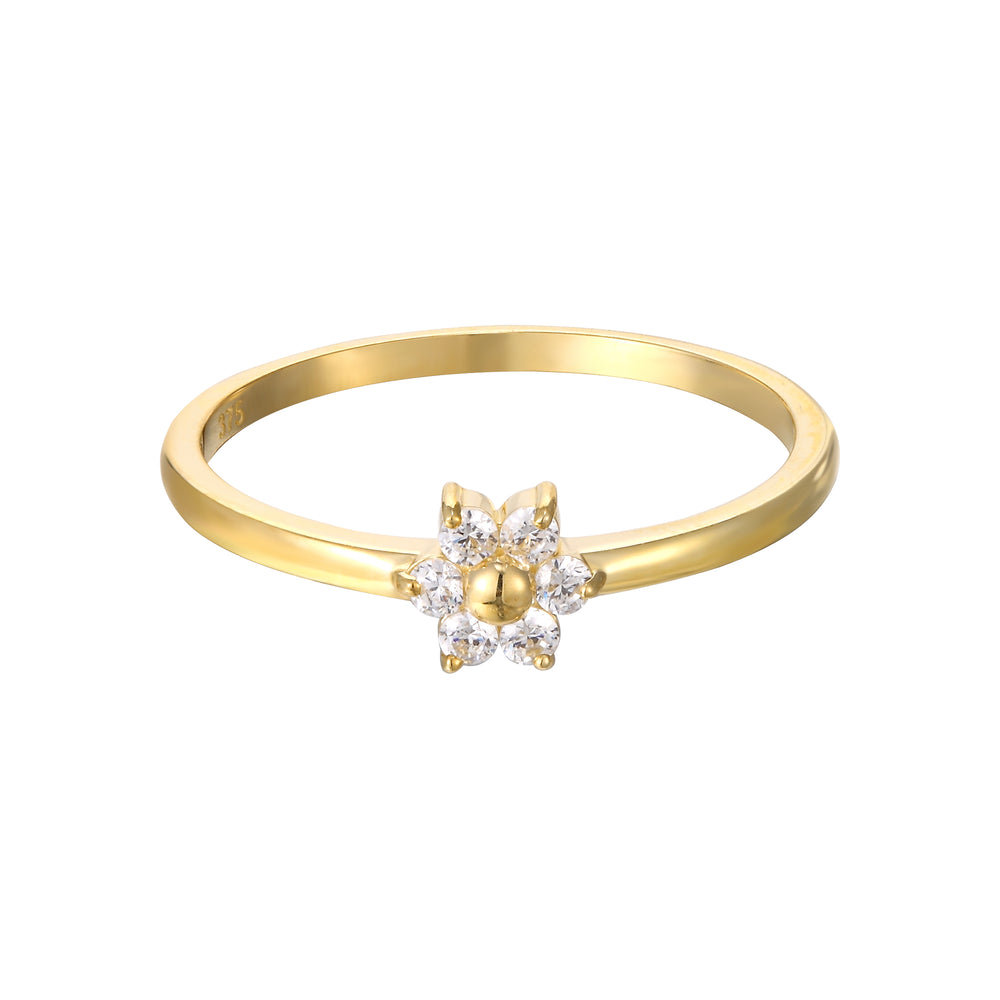 9ct Gold CZ Flower Ring