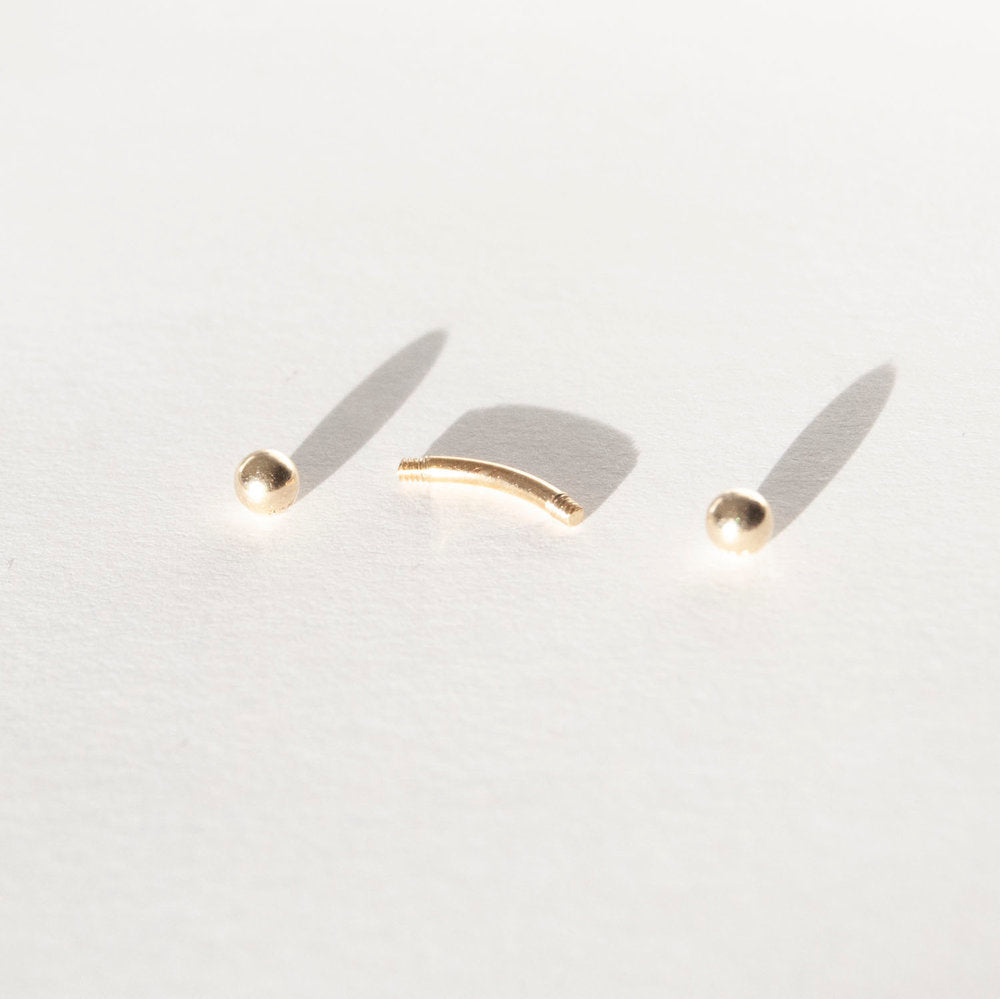 9ct Gold Curved Barbell Stud - seol-gold