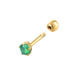 9ct gold emerald cartilage stud - seolgold