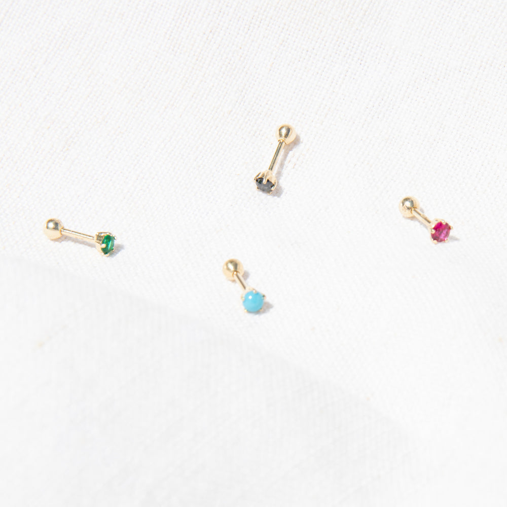 9ct gold cz claw stud - seol-gold