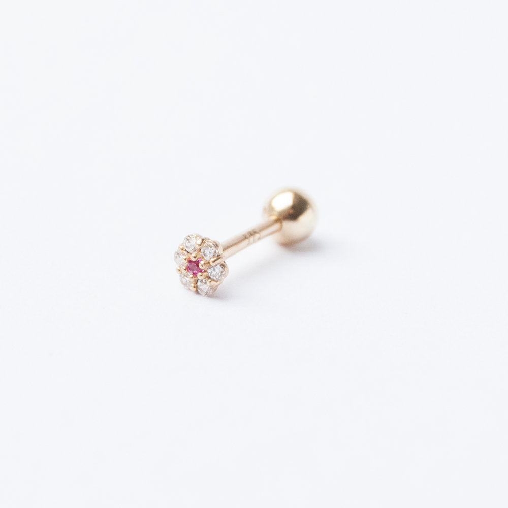 9ct Gold Ruby Flower CZ Stud Earring