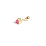 9ct Gold Ruby Heart Stud